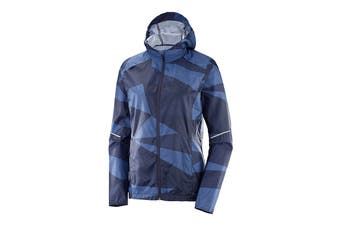 Salomon Agile Wind Print Hoodie (Night Sky/ Graphite/ Crown Blue) (Small)
