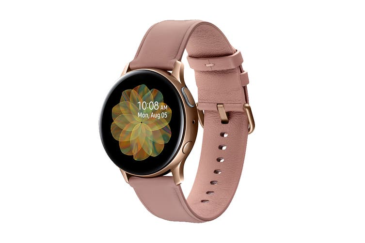 Samsung Galaxy Watch Active 2 R830 - Leather Band (Steel, 40mm, Bluetooth, Gold)