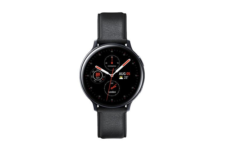 Samsung Galaxy Watch Active 2 R820 - Leather Band (Steel, 44mm, Bluetooth, Black)