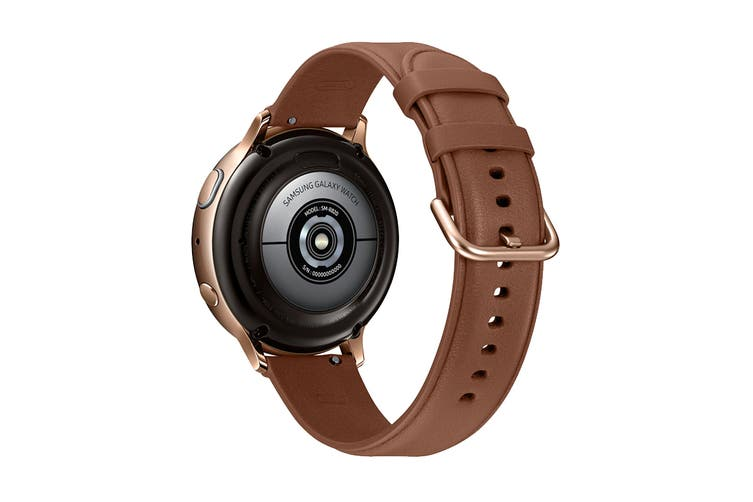 Samsung Galaxy Watch Active 2 R820 - Leather Band (Steel, 44mm, Bluetooth, Gold)