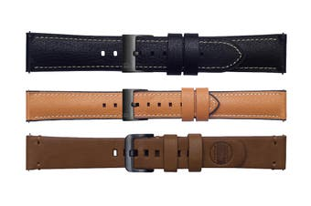 Samsung Galaxy Watch 42mm -3 Pack Straps (20mm band) - Black, Tan, Brown