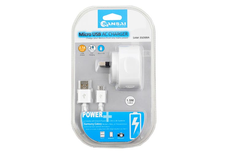 Sansai 2.1A AC Charger with 2 USB Outlets & Micro USB Cable (SAM-3S088A)