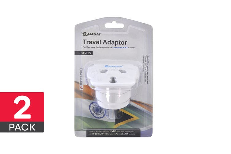 2-Pack Sansai Universal Travel Adapter - Worldwide to AUS/NZ (STV-15)