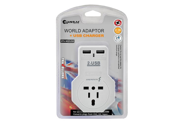 Sansai 2.1A Worldwide Travel Adapter with 2 USB Outlets (STV-902USB)