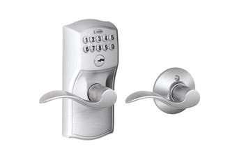 Schlage Keypad Lever with Camelot Trim and Accent Lever with Auto Lock (Satin Chrome)
