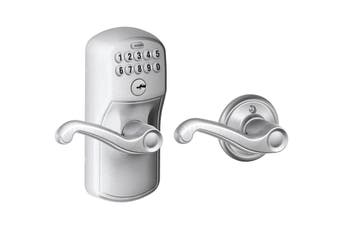 Schlage Keypad Lever with Plymouth Trim and Flair Lever with Auto Lock (Satin Chrome)
