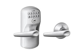 Schlage Keypad Lever with Plymouth Trim and Jazz Lever with Auto Lock (Satin Chrome)