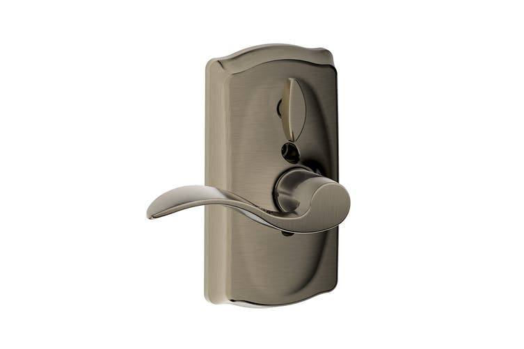 Schlage Keypad Lever with Camelot Trim and Accent Lever with Flex Lock (Antique Pewter)