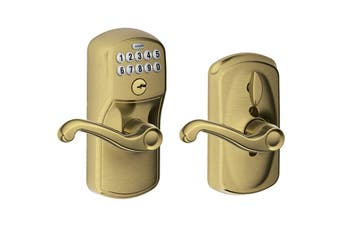 Schlage Keypad Lever with Plymouth Trim and Flair Lever with Flex Lock (Antique Brass)
