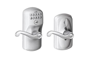 Schlage Keypad Lever with Plymouth Trim and Flair Lever with Flex Lock (Satin Chrome)