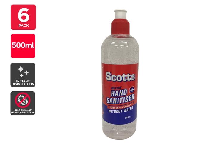 Scotts Instant Hand Sanitiser Made in Australia (500ml) - 6 Pack