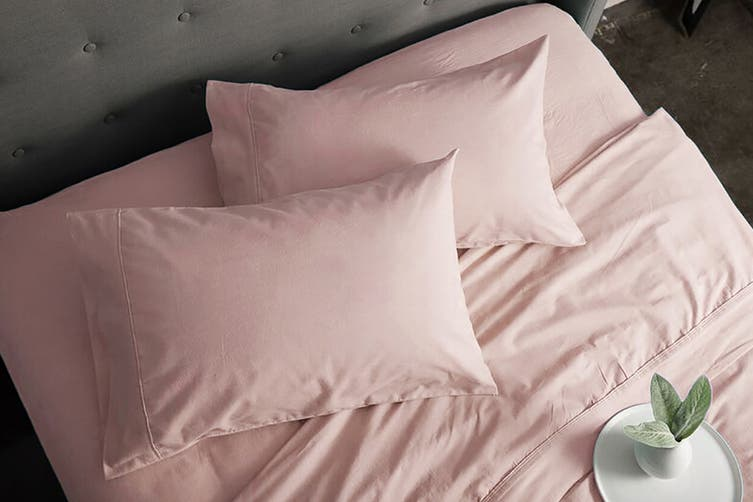 Sheraton Luxury 160gsm Flannelette Sheet Set (Single/Cameo Pink)