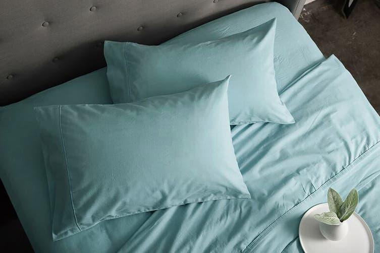 Sheraton Luxury 160gsm Flannelette Sheet Set (Single/Sea Mist)