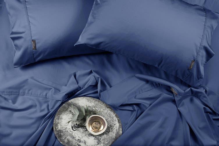 Sheraton Luxury 400TC Bamboo & Cotton Sheet Set (Queen, Deep Blue)