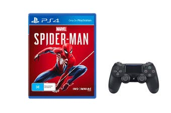 Sony PlayStation Dualshock 4 Controller (Black) + Spiderman Bundle