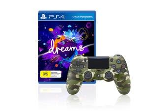 Sony PlayStation Dualshock 4 Controller (Green Camo) + Dreams Bundle