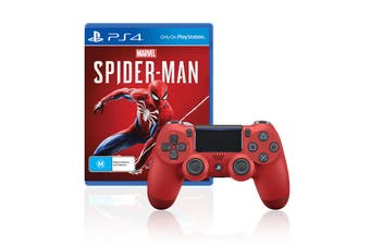 Sony PlayStation Dualshock 4 Controller (Red) + Spider-Man Bundle