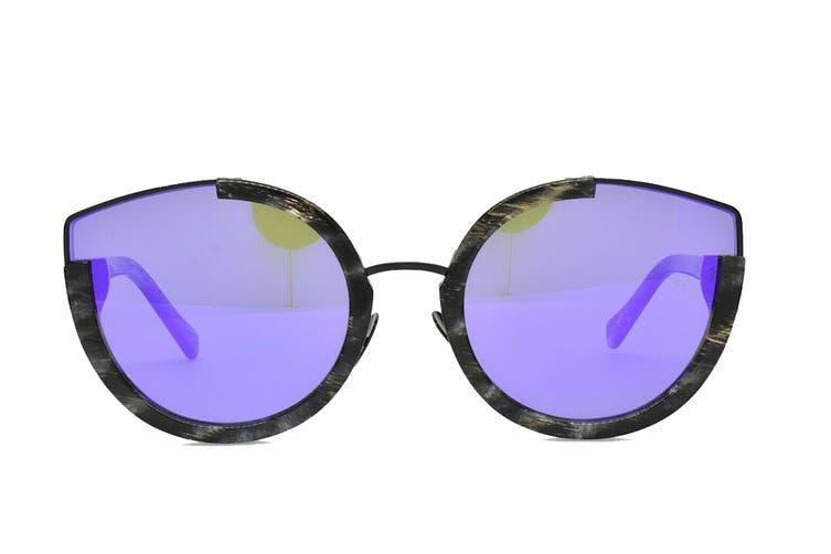 Sunday Somewhere NAY Sunglasses (Black Glitter, Size 60-24-145) - Purple