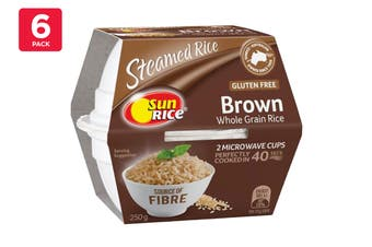 Sunrice 250G Brown Whole Grain Rice Steamed Rice 2 X Quick Cups (6 Pack)