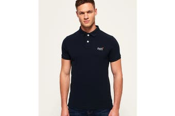 Superdry Men's Classic Pique Polo (New Eclipse Navy, Size XL)