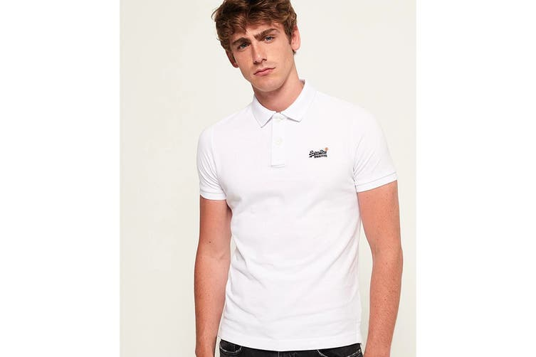 Superdry Men's Classic Pique Polo (New Optic, Size S)