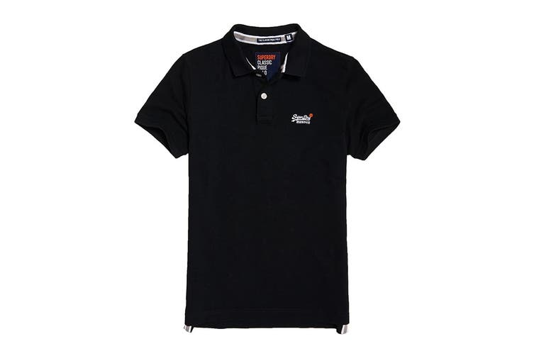 Superdry Men's Classic Pique Polo (New Black, Size S)