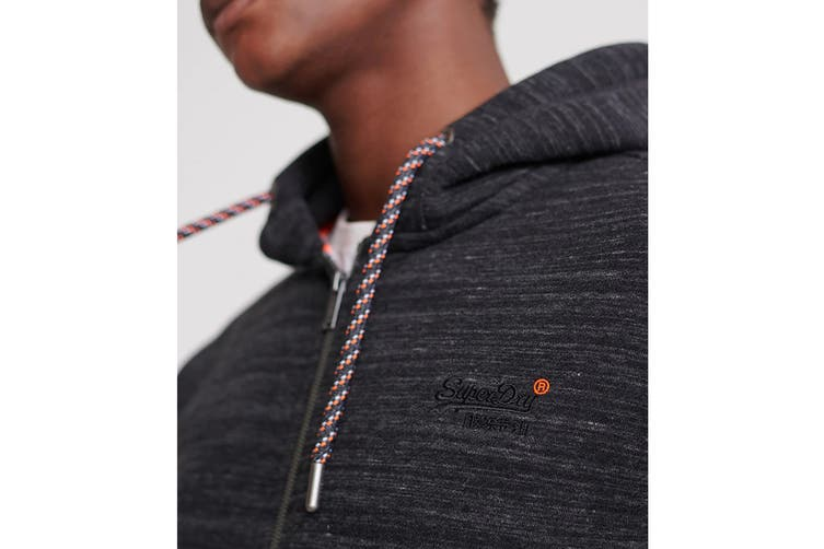 Superdry Men's OL Cali Zip Hood (Vast Black Space Dye, Size XL)