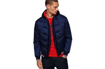 Superdry Men's Quilted Bomber Jacket (Baltic Blue, Size XL)