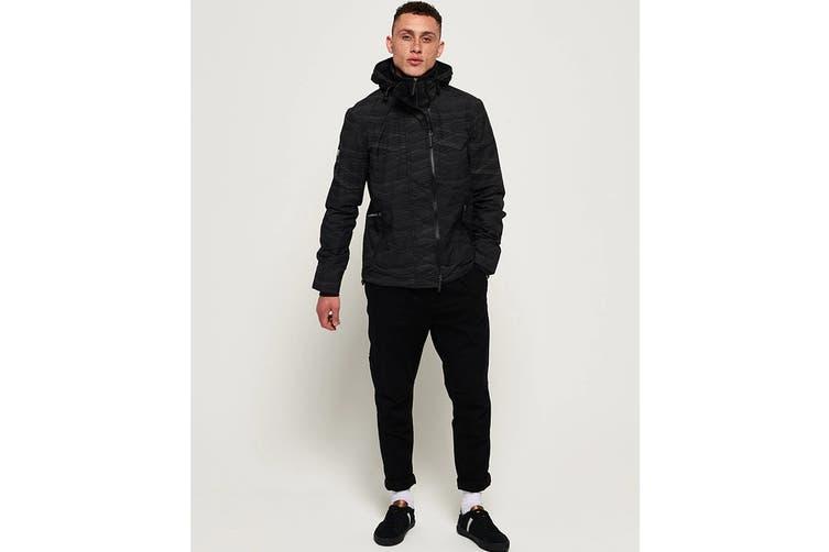 Superdry Men's Hooded Arctic Windcheater (Black/Black Reflective, Size XXL)