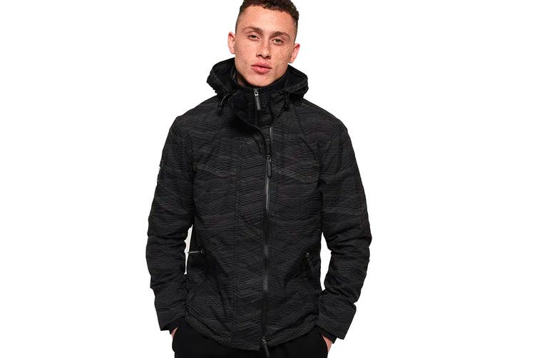 Superdry Men's Hooded Arctic Windcheater (Black/Black Reflective, Size L)