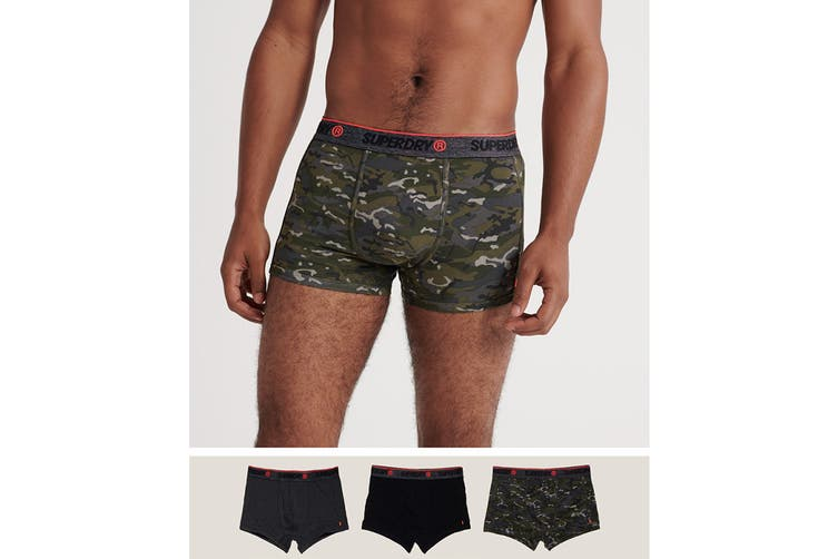 Superdry Men's OL Sport Triple Trunk Pack Underwear (Stealth Camo/Black/Carbon Black Grit, Size M)
