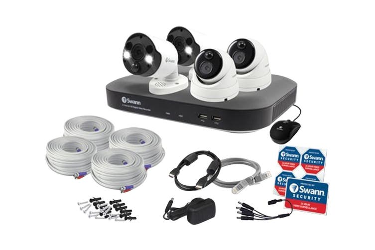Swann 8 Channel 4K Ultra HD DVR Security System with 2TB HDD, 4 x 4K Heat & Motion Detection Security Cameras (SODVK-855802D2FB)