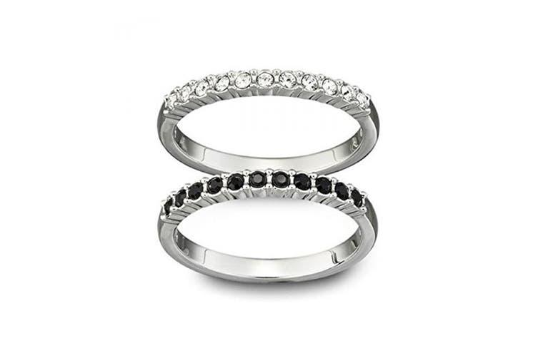 Swarovski Crystal Mixed Rings - Set of 2 (Size 7)