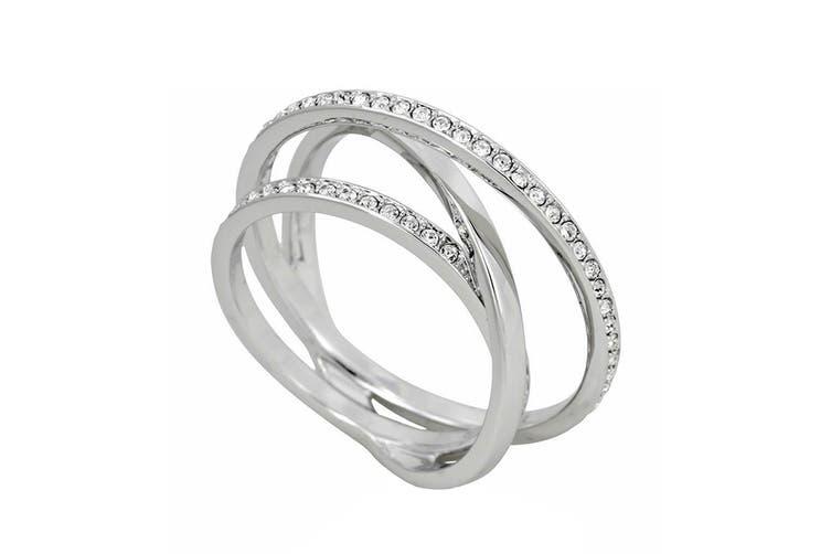 Swarovski Spiral Rhodium, Clear Crystal Pavé Ring (Size 7)