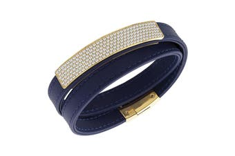 Swarovski Vio Navy Leather Bracelet