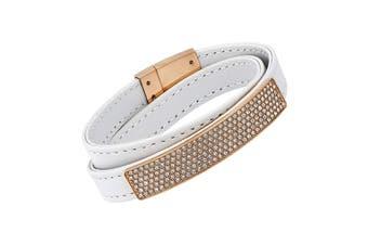 Swarovski Vio White Leather Bracelet