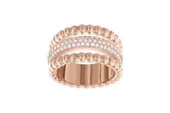 Swarovski Click 18K Rose Gold, Pave Crystal Ring (Size 7)