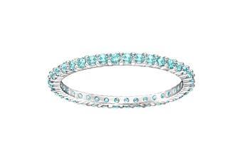 Swarovski Vittore Rhodium, Teal Crystal Ring (Size 7)