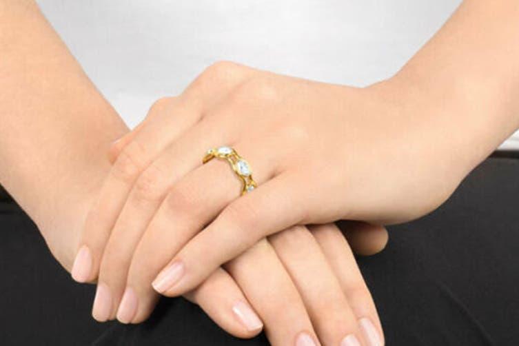 Swarovski Fragment Gold Ring (Size 7)