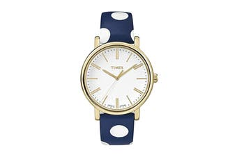 Timex Women's Originals White Dial Polka Dot Leather Watch (Blue/White)