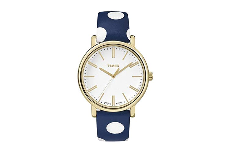 Timex Women's Originals White Dial Polka Dot Leather Watch (Blue/White)