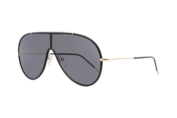 Tom Ford FT0671 Sunglasses (Shiny Rose Gold W. Black Leather Rims, Size 137-0-145) - Smoke Lens