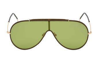 Tom Ford FT0671 Sunglasses (Shiny Rose Gold W. Brown Leather Rims, Size 137-0-145) - Green Lens