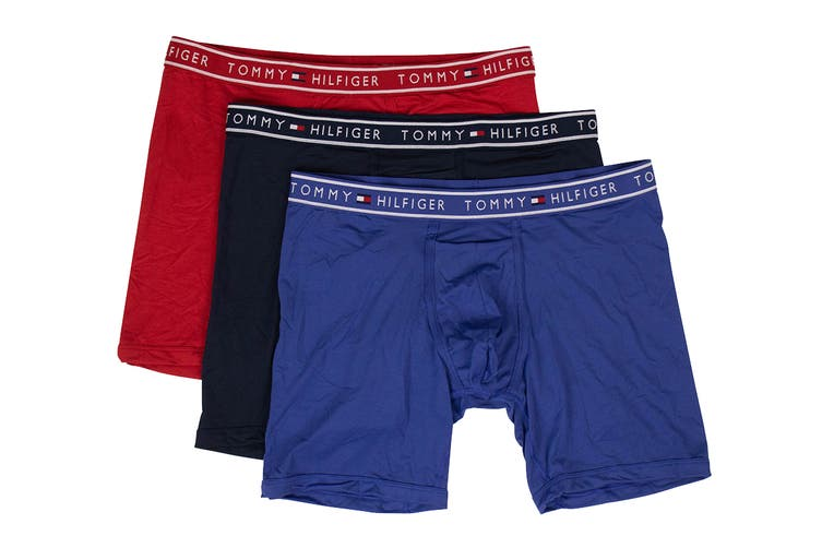 Tommy Hilfiger Men's Boxer Brief (Mahogany, Size L) - 3 Pack