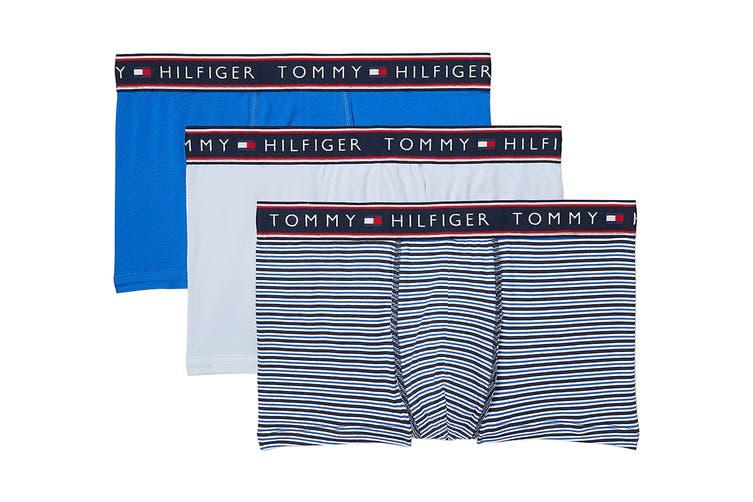 Tommy Hilfiger Men's Cotton Stretch Trunk Underwear (Ocean, Size L) - 3 Pack