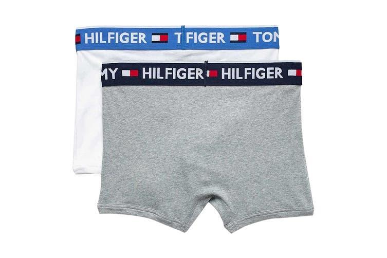 Tommy Hilfiger Men's Bold Cotton Trunk Underwear (White, Size S) - 2 Pack