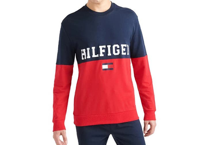 Tommy Hilfiger Men's Modern Essentials Colour Block Crew Neck Sweatshirt (Dark Navy, Size S)