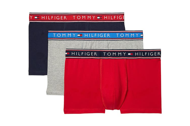 Tommy Hilfiger Men's Cotton Stretch Trunk Underwear (Evening Blue, Size L) - 3 Pack