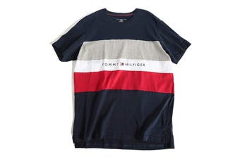 Tommy Hilfiger Men's Modern Essentials Colour Block Script Short Sleeve Crew Tee (Navy, Size XL)
