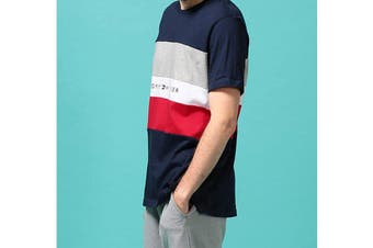 Tommy Hilfiger Men's Modern Essentials Colour Block Script Short Sleeve Crew Tee (Navy Size M)